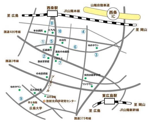 東広島市周辺ホテルマップ